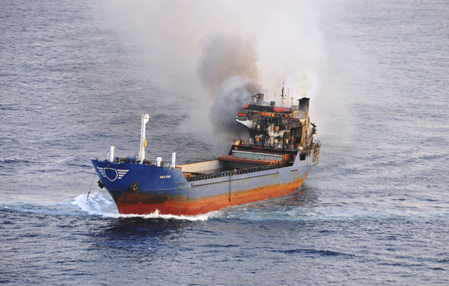 The Tanzanian-registered cargo ship MV Gold Star is seen with its bridge in flames some 30 nautical miles north of Malta