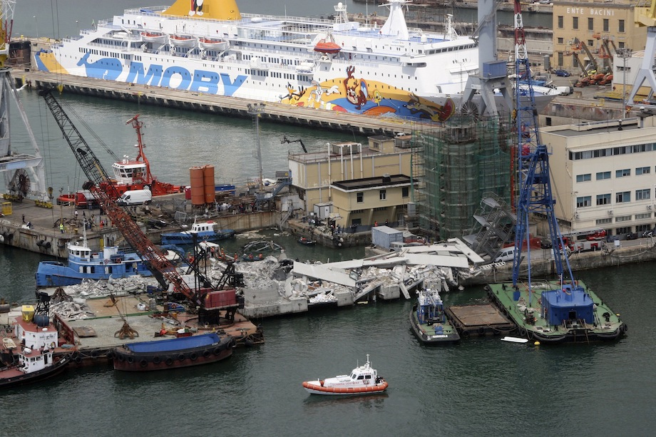The collapsed control tower at Genoa's port is pictured in this handout picture provided by the Coast Guard service