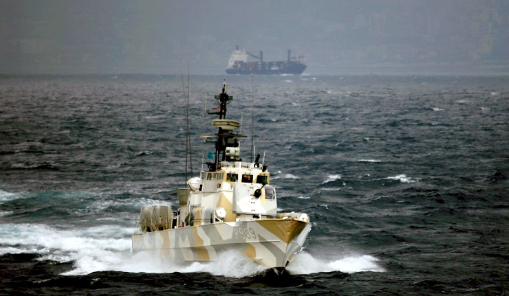 Norwegian fast patrol boat Tjeld off the coast of Lebanon