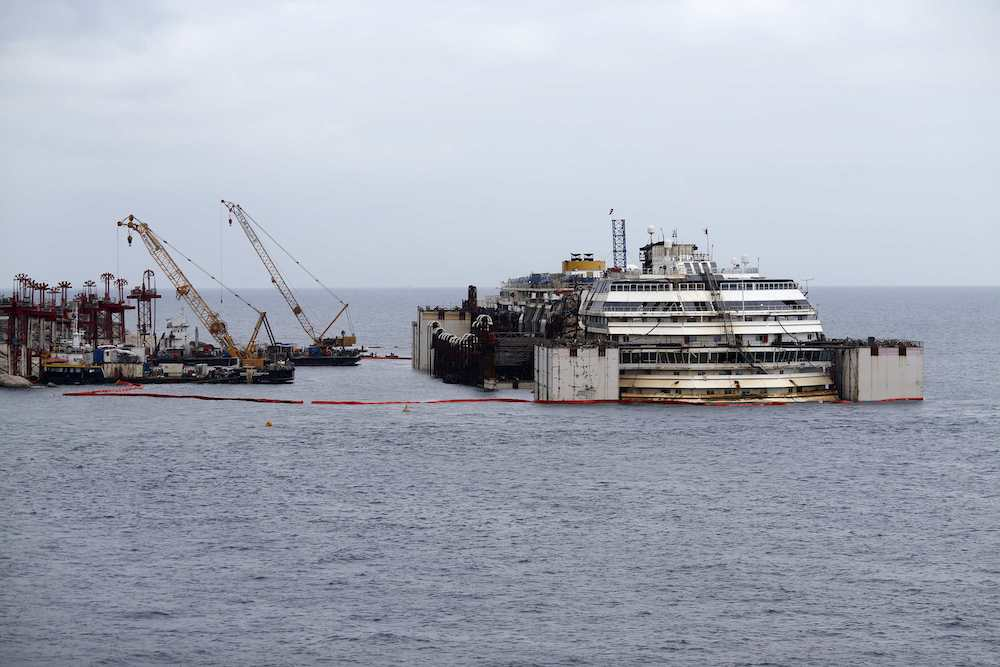 Cruise liner Costa Concordia is seen after a refloat operation at Giglio harbour at Giglio Island